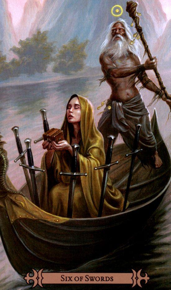 6 d'épée par SpellCaster's tarot de Melanie Marquis