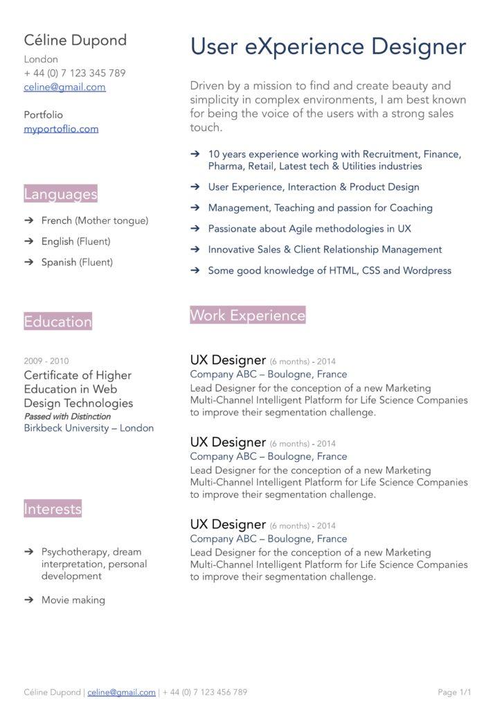 Modèle de CV Céline - Designer - en anglais