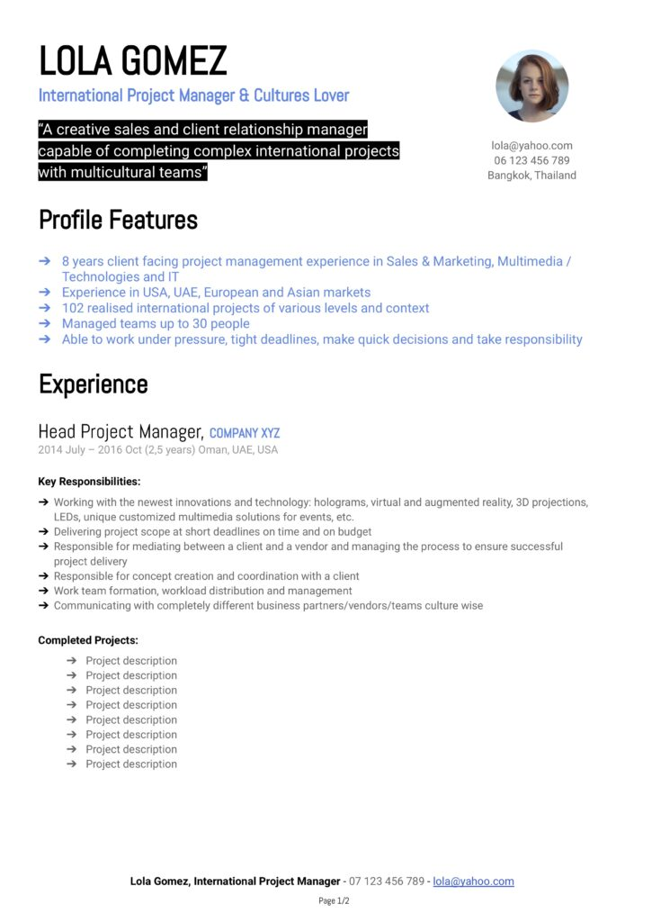 Modèle de CV Lola - Project Manager