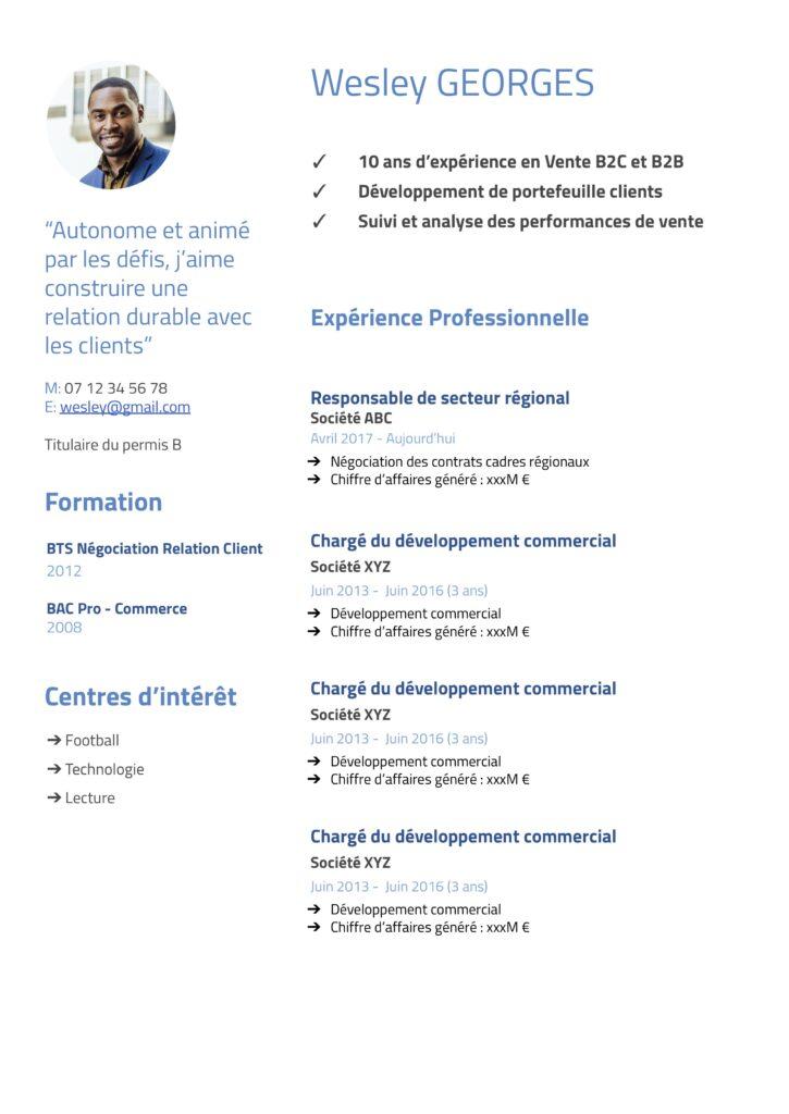 Modèle de CV Commercial